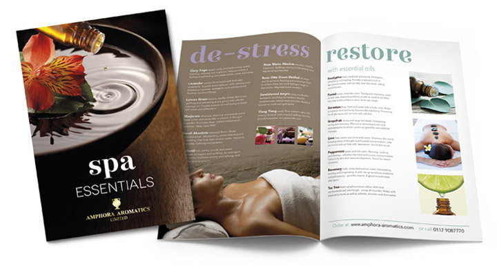 Branding Design Amphora Aromatics Spa brochure by Pickle Studio