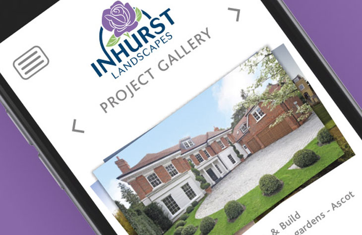 Responsive website design for Inhurst Landscapes graphic design Gloucestershire