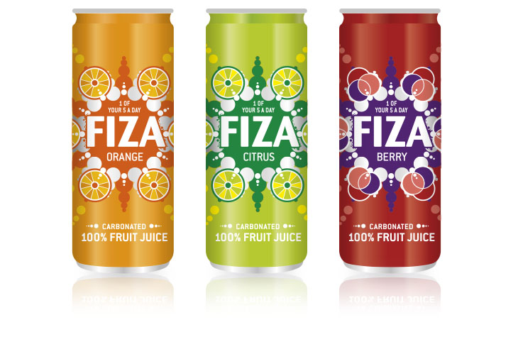 Fiza fruit juice drinks graphic design Gloucestershire