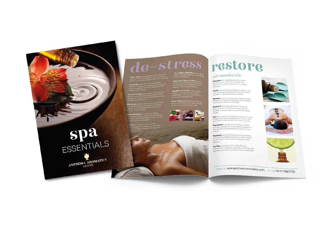 Amphora aromatics spa brochure design pickle studio for Spa brochure design